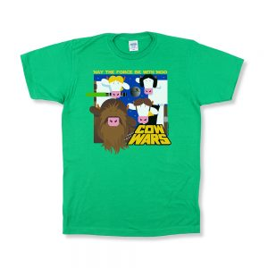 cow wars green t front