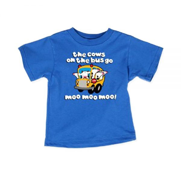 Blue Kids Cows On The Bus T-shirt