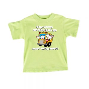 Lime Green Kids Cows On The Bus T-shirt