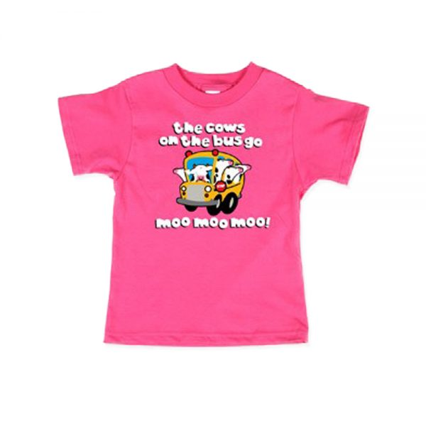 Pink Kids Cows On The Bus T-shirt