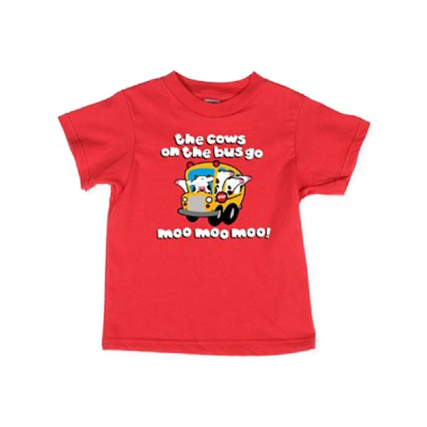 Red kids Cows On The Bus T-shirt