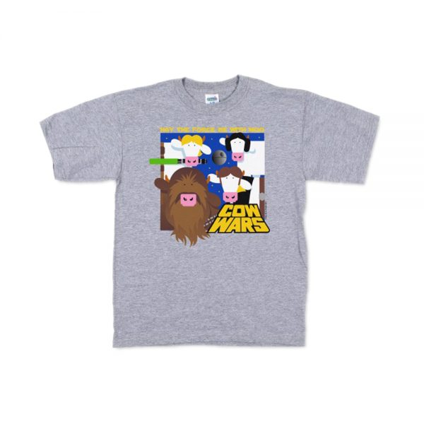Grey Youth Cow Wars T-Shirt