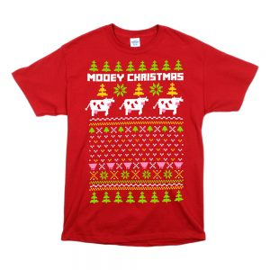 Red Unisex Mooey Christmas T-Shirt