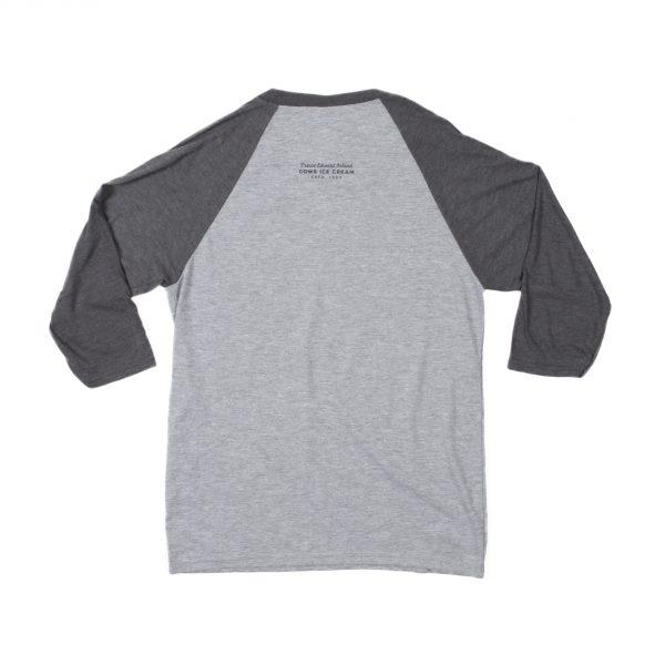 Grey Unisex Cows Baseball T-shirt Back