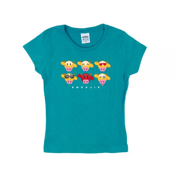 Teal Emooji Girly T-Shirt