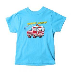 Kids Aqua Fire Truck T-Shirt