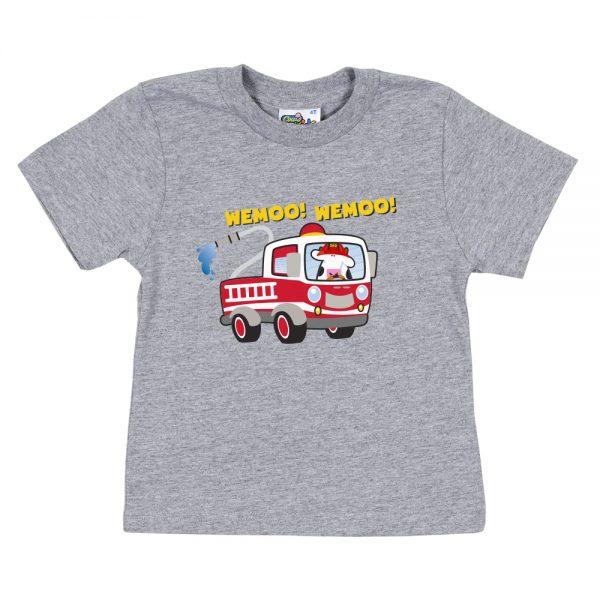 Kids Grey Fire Truck T-Shirt