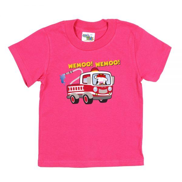 Kids Pink Fire-Truck T-Shirt