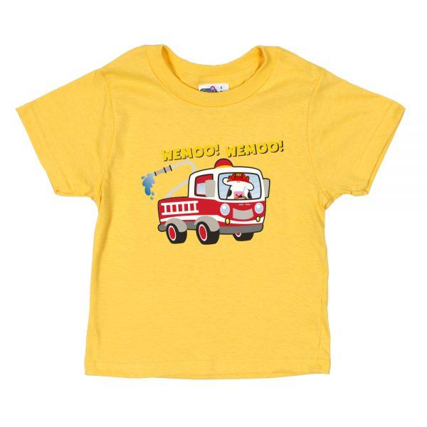 Kids Yellow Fire Truck T-Shirt