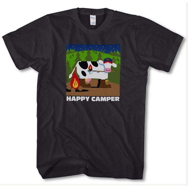 Happy Camper Adult T Black Front