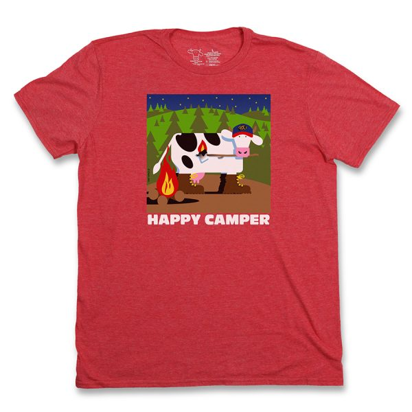 Happy Camper Adult T Red Front