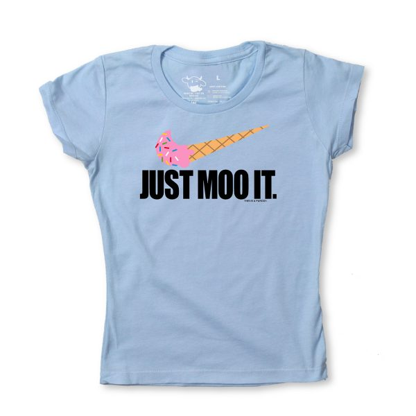 JUST MOO IT GIRLY T - BLUE