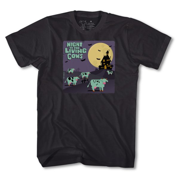 NIGHT OF THE LIVING COWS ADULT T - BLACK