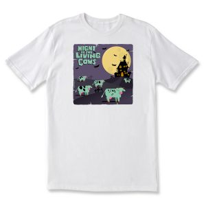 NIGHT OF THE LIVING COWS ADULT T - WHITE